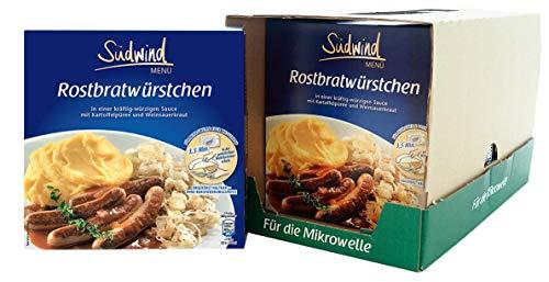 Knackige Rostbratwürstchen in kräftiger Sauce mit Kartoffelpüree und Weinsauerkraut – 7er Pack (7 x 480g) - Fertiggerichte für die Mikrowelle / Wasserbad - Südwind Lebensmittel