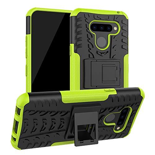 Dedux Hülle für LG G8X ThinQ, [Dual Layer Armour Series] Anti-Scratch PC Rückwand Schale + Stoßfeste TPU Innenschutzabdeckung + Faltbarer Halterungen, Grün