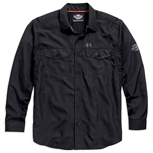 할리 데이비슨 긴 소매 성능 버튼 프런트 셔츠 검정색. 99018-15VM