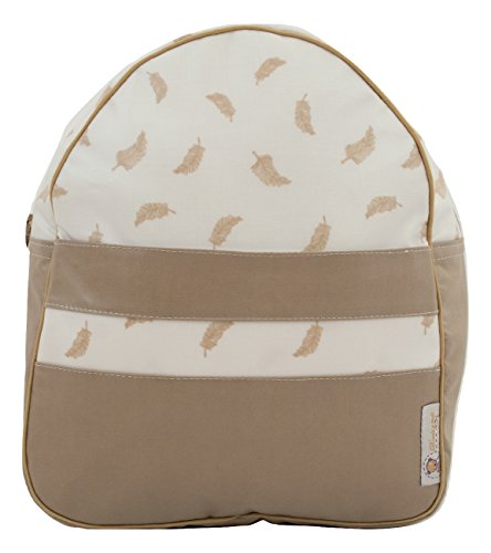 Mochila o bolsa infantil plastificada para colegio o guardería. Modelo little nordic. Plumas camel