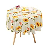Sunflower Floral Tablecloth, Flower Rose Table Cloth, Spring Summer Autumn Waterproof Wrinkle Free Tablecover for Kitchen, Dining Room, Outdoor, Picnic, Camping, Patio, Party, Round 60 inch