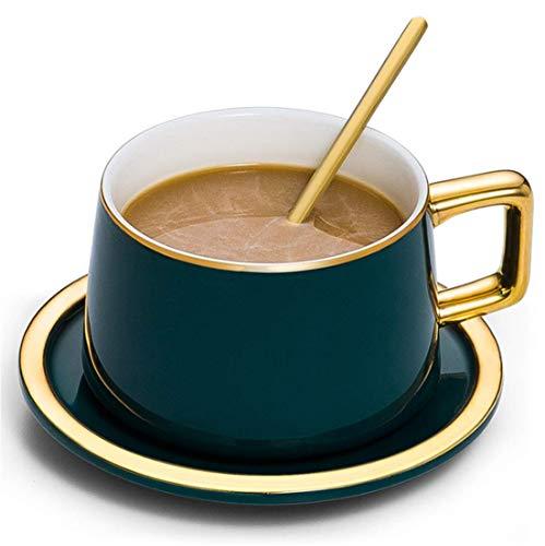 MZSC Bone Porzellan Tasse Keramik Dunkelblau Goldrand Kaffeetasse Mit Geschirrlöffel Set Becher 180Ml Kapazität