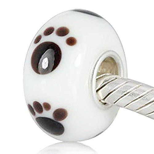 STYLE4-NATURE Charm Perle mit Pfotenabdrücken Passt zu Pandora u. Ninaqueen Armbändern Katzen- u. Hunde-Motiv 925er Silber