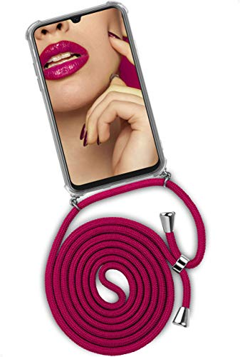 ONEFLOW Handykette 'Twist Hülle' Kompatibel mit Samsung Galaxy A40 - Hülle mit Band abnehmbar Smartphone Necklace, Silikon Handyhülle zum Umhängen Kette wechselbar - Rosa Pink