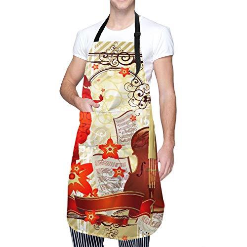 MAYBELOST Verstellbarer Hals Hängen Personalisierte Wasserdichte Schürze,Retro Beauty - Cello,Kitchen Latzkleid für Männer Frauen mit 2 Mitteltaschen