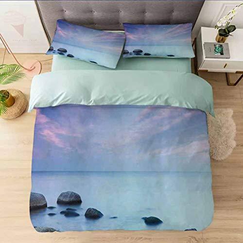 Aishare Store - Juego de funda de edredón para cama de otoño o de la costa del mar Báltico con vistas al atardecer en W, ultra suave y fácil de cuidar, transpirable, acogedor y sencillo juego de cama