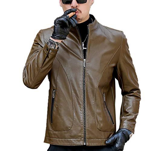 NHX Herren-Leder-Mantel Mode Herbst und Winter Bomber Jacken Zipper Stehkragen Overcoat windundurchlässiges Motorrad Tourenjacke,C-XL