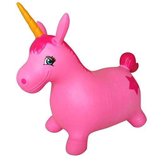 AppleRound Unicorn Bouncer with Hand Pump, Inflatable Space Hopper, Ride-on Bouncy Animal (Pink)