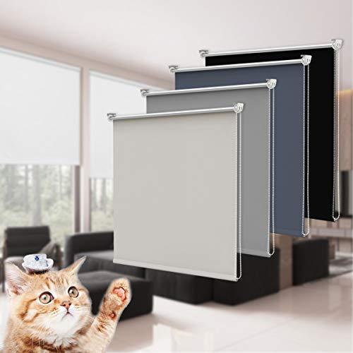Newton Tyler Store Enrouleur Occultant Thermique Réglable Opaque avec/sans Perçage Montage Simple Fenêtre/Porte Tailles Différentes Gris 100 x 170 cm