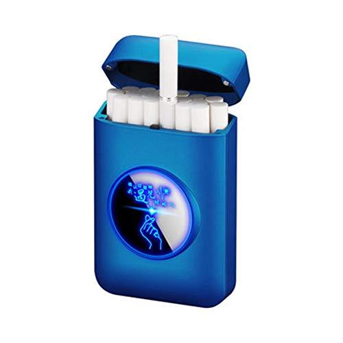 Cigarrillos tirón la Caja Ultrafina de Cigarrillos Caja Portable con Luces LED 20 Palos Box,Q