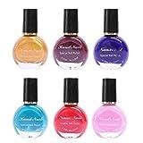 Lurrose 6 Unids Nail Polish Nail Art Stamping Barniz de uñas de Larga Duración Polaco de Impresión DIY (Color aleatorio)