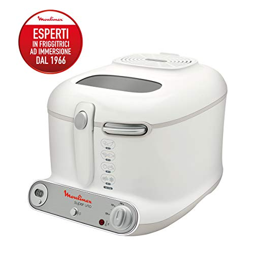 Moulinex AM3021 Super Uno Freidora con temporizador, 1800 W, 2.2 L, color blanco