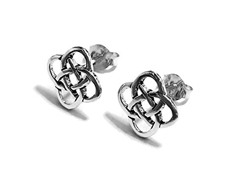 20 Gauge (0.8mm) 925 Sterling Silver Earring Cartilage Women Girl Woman Ear Stud Helix Tragus Square Celtic knot 3/8' (10mm) Wide