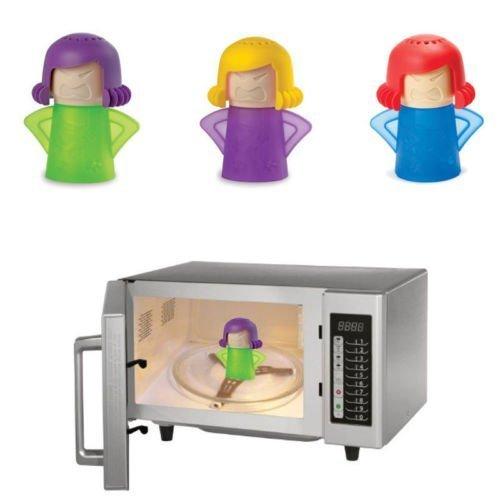 Angry Mama Pulitore a vapore ad azione rapida per forno a microonde, per la cucina, colore casuale, 1 pezzo