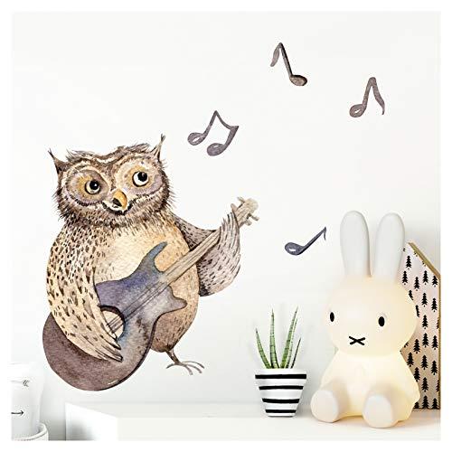 Little Deco Wandtattoo Kinderzimmer Mädchen Junge Eule mit Gitarre Waldtiere Tiere I (BxH) 47 x 26 cm I Wandaufkleber Wandsticker Aufkleber Baby DL212-4