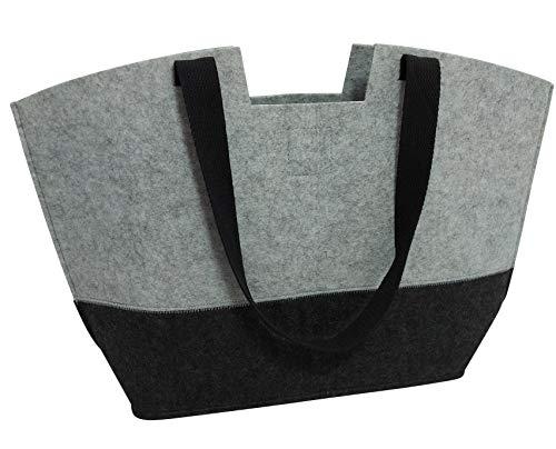 Tebewo Shopping-Bag aus Filz, große verschließbare Einkaufs-Tasche mit Henkel, Einkaufskorb, Faltbare Kaminholztasche zur Aufbewahrung von Holz, vielseitige Tragetasche, Farbe grau