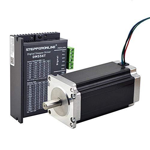 STEPPERONLINE 1 eje motor paso a paso CNC Kit 3,0 Nm 4,2 A 10 mm ranura Nema 23 motor paso a paso y motor paso a paso 1,8-5,6 A 20-50 VDC para máquina de grabado CNC, impresora 3D