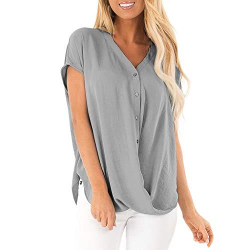 Routinfly Wyprzedaż 2019 nowa damska bluzka szyfonowa dekolt w kształcie litery V, guzik, topy, kobiety na lato, luźne rękawy, tunika, koszula, sweter, T sztuka