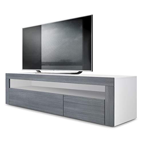 Vladon TV Board Lowboard Valencia, Korpus in Weiß matt/Front in Avola-Anthrazit mit Rahmen in Avola-Anthrazit