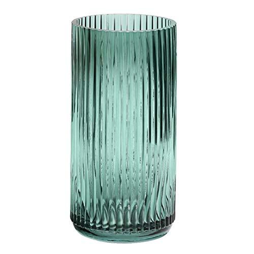 BESPORTBLE Cilindro de cristal, jarrón alto y moderno, mesa de boda, centro de mesa, diseño de flores, jarrones decorativos...