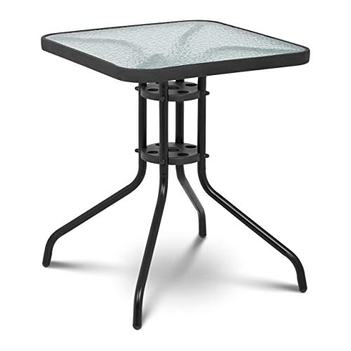 Uniprodo Glass Patio Table Glass Top Outdoor Table Balcony Garden Square Black 60x60cm UNI_TABLE_02 (Tempered Glass, Powder-Coated Steel Tube Frame, Height 70cm)