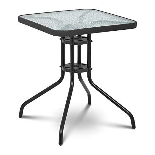 Uniprodo Tavolo da Giardino Rotondo Tavolino da Esterno Uni_Table_02 (60 x 60 cm, Nero, 70 cm, Vetro temperato)