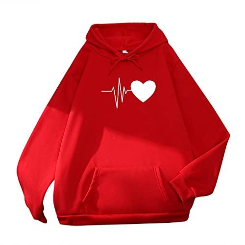 MEIPIQI Chaqueta con capucha para mujer Y2k de invierno para mujer, cálida, informal, con capucha, con bolsillo, EKG Jersey de manga larga, jersey 2021 de gran tamaño, rojo, S