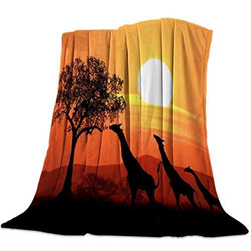 Yaxinduobao Flannel Fleece Bed Manta Warm Fuzzy Plush Fleece Manta Giraffe Family Sunset Sunlights Coloring Clouds Sky Picture Lightweight Manta Super Soft for Bed/Couch/Sofa 50x59 Inch