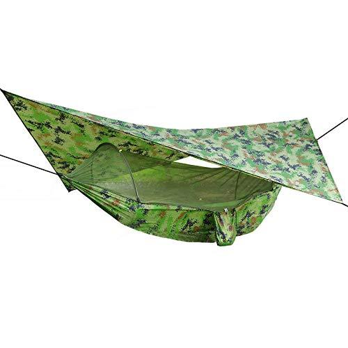 Hamacas de 250 x 120 cm, para exteriores, doble hamaca con mosquitera+tienda de campaña, toldo para acampar, hamacas (tamaño: 250 x 120 cm; color: verde oscuro)