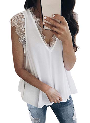 BLENCOT Women Ladies Sexy V Neck Lace Trim Tank Tops Casual Loose Sleeveless Blouse and Shirts Work White L