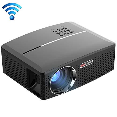 SUNHM - Proiettore LED Android WiFi 1800LM 800x480 Home Theater con telecomando, supporto HDMI, VGA, AV, interfacce USB, spina EU US UK AU opzionale (colore : nero)