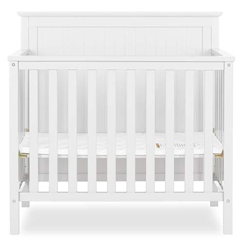 Dream On Me Ava 4-in-1 Convertible Mini Crib in White, Greenguard Gold Certified