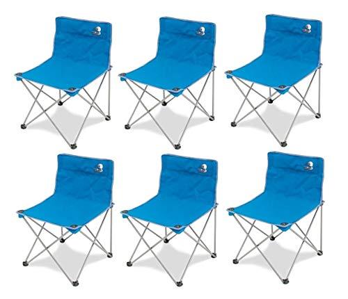 Storm Lot de 6 chaises pliantes en fer avec tissu textilène, bleu, avec sac de transport, idéal pour le camping,