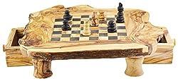 Olivenholz ea59m50Rustikal Schachbrett mit Stück mit 4Beinen und 2Schubladen,/Natur