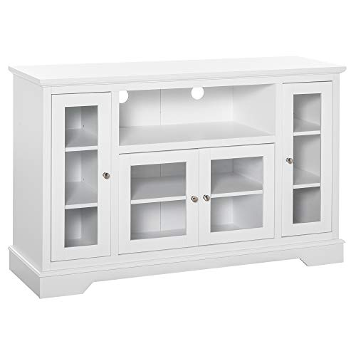 HOMCOM Modern Kitchen Sideboard Buffet Server Cabinet with Glass Doors/TV Stand Console Table for Living Room, White