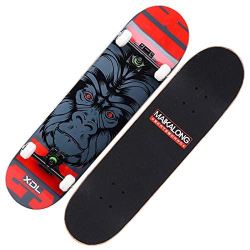 VOMI Monopatín Avec 7 Capas de Madera de Arce, Skateboard 31'x 8' para Adolescentes, Adultos, Principiantes, Niñas, Niños, Patineta Complete Tabla Skate Standard con Rodamiento ABEC-9,Rojo