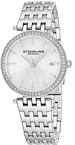Stuhrling Original Women's 579.01 Soiree Swiss Quartz Swarovski Crystals Date Watch (Silver)