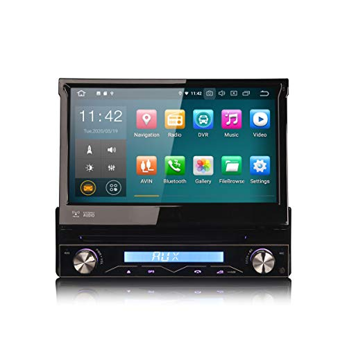 ERISIN 7 Zoll Android 10.0 Autoradio 1Din Universal Unit Multimedia Player mit GPS-Navi Unterstützt Carplay Android Auto Bluetooth A2DP WiFi 4G DAB+ DVB-T RDS Mirror- Link TPMS 2GB RAM + 16GB ROM