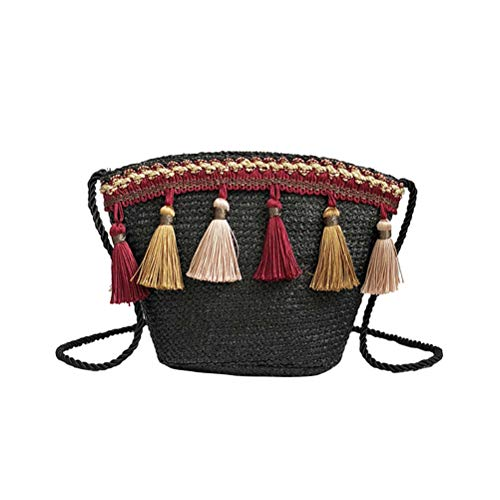 Bolso bandolera de paja con borla hecho a mano tejido bolso de playa para mujeres niñas