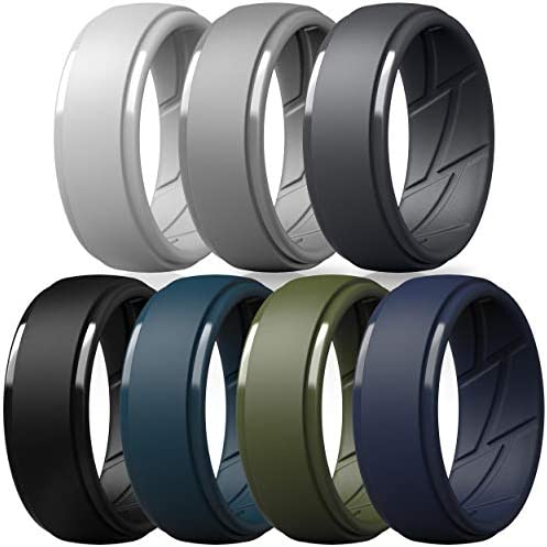 ThunderFit Silicone Wedding Ring for Men Breathable with Air Flow Grooves 10mm Wide 2 5mm Thick product image
