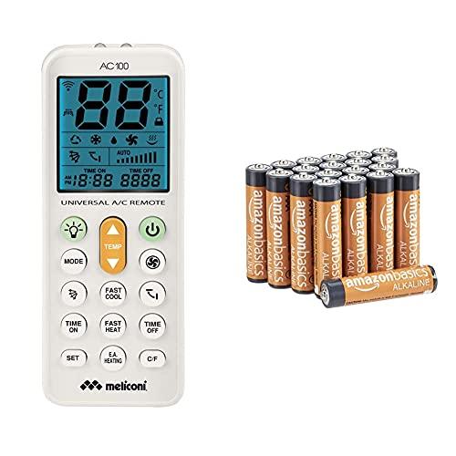Meliconi Ac 100 Telecomando Universale Per Condizionatori/Climatizzatori Compatibile Con La Maggior Parte Dei Marchitorcia + Amazon Basics - Batterie Alcaline Aaa 1.5 Volt, Performance