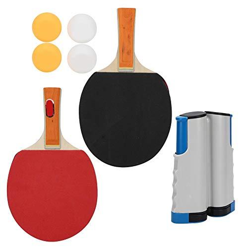 Alomejor1 Juego de Tenis de Mesa Juego de Paleta de Ping Pong portátil con Raquetas telescópicas de Red Balones de Ping Pong(PT-260 Juego de estantes de Red Blanco y Azul)