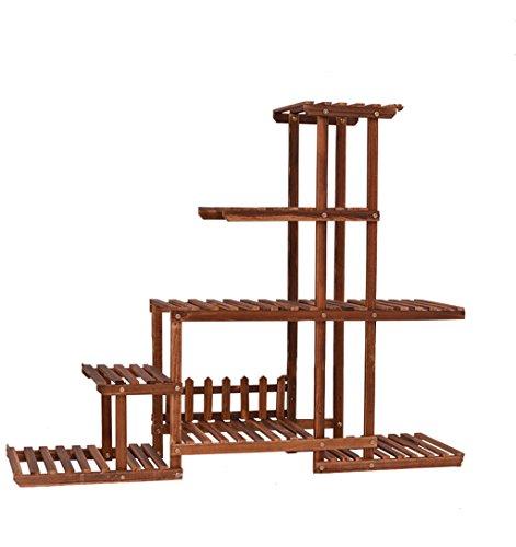 MLHJ NNIU- Bois Fleur étagère Anti-Corrosion Balcon Radis Vert à Plusieurs étages en Bois de Style de Plancher Salon d'intérieur Fleur Pot Rack 120 * 95 * 25 cm