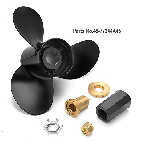 Qiclear Marine 13 1/4 x17 | 48-77344A45 (Hub Kits Included) Upgrade Aluminum Outboard Propeller fit Mercury Engines 60-125HP,15 Spline Tooth, RH