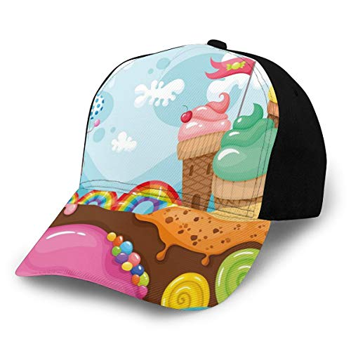 Hip Hop Sun Hat Baseball Cap,Dessert Land with Rainbow Candies Lollipop Trees Cupcake Mountains Cartoon,for Men&Women