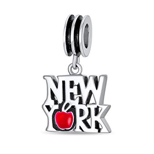 Bling Jewelry Io Amo New York Cuore Rosso Travel Penzolare Fascino Cordone Donne Argento Sterling Si Inserisce Braccialetto Europeo