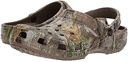 Crocs Men's and Women's Classic Realtree Clog   Camo Shoes, Walnut, 9 Women / 7 Men