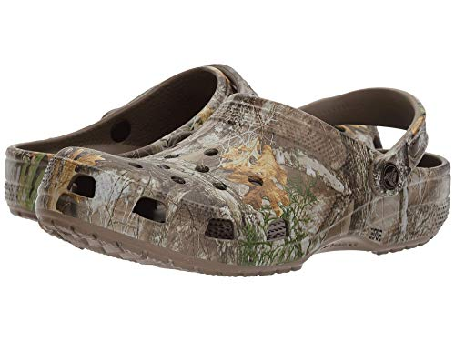 Crocs Unisex Men's and Women's Classic Realtree Clog | Camo Shoes, Walnut, 12 US