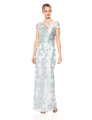 Adrianna Papell Women's Pop Over Metallica Embroidered Lace Dress Gown, Mist, 4 (Apparel)