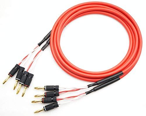 CANARE カナレ 4S6 バナナプラグ付 カラー選択可 スピーカーケーブル 2本セット (4m, 赤)